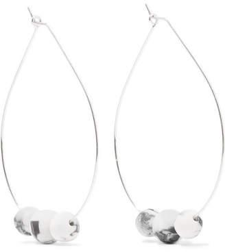 Dinosaur Designs Silver And Resin Hoop Earrings - White