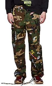 Vetements Men's Camouflage & Sticker-Print Cotton Cargo Pants - Olive