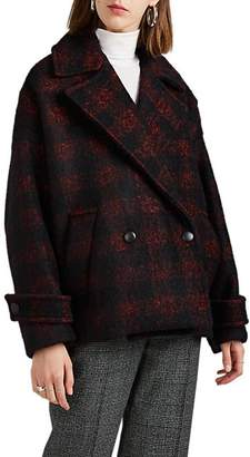 IRO Women's Tesye Buffalo-Checked Wool-Blend Coat Size 38