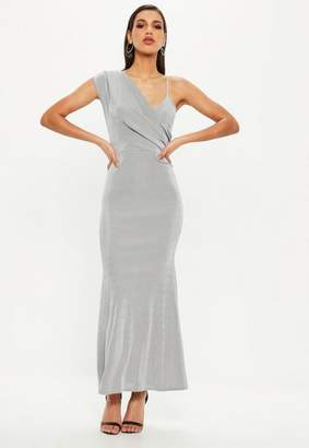 Missguided Gray Slinky One Shoulder Wrap Front Maxi Dress