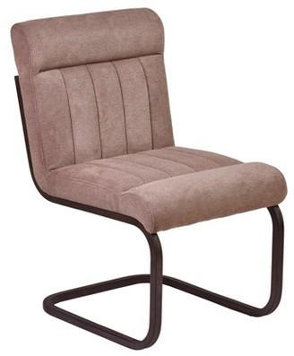 Armen Living Vancouver Metal Side Chair in Auburn Bay and Brown Microfiber (Set of 2)