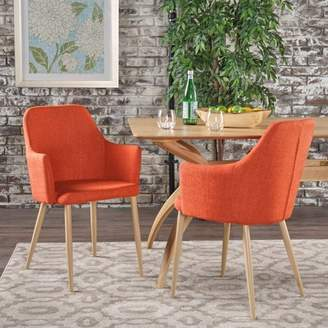 Noble House Zelda Mid Century Modern Fabric Dining Chairs, Set Of 2, Muted Orange