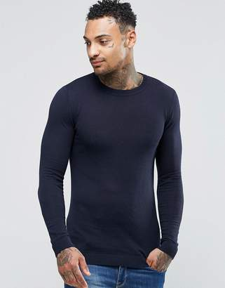 Asos Muscle Fit Cotton Sweater In Navy