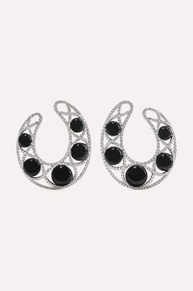 Ofira 18-karat White Gold, Diamond And Agate Hoop Earrings - one size