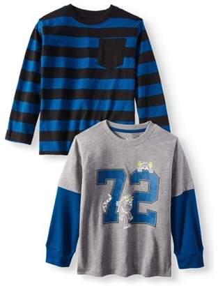 365 Kids From Garanimals Long Sleeve Striped Pocket T-Shirt & Long Sleeve Hangdown Graphic T-Shirt, 2-pack (Little Boys & Big Boys)