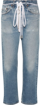 Off-White - Distressed Cropped Boyfriend Jeans - Mid denim $535 thestylecure.com