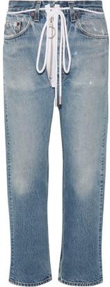Off-White - Distressed Cropped Boyfriend Jeans - Mid denim $535 thestylecure.com