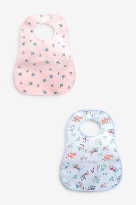 Next Girls Pink/Blue 2 Pack Character Printed Crumb Catcher Bibs - Blue