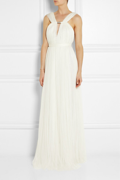 Lanvin Ruched Silk-blend Tulle Gown - Off-white
