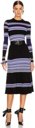 Proenza Schouler Long Sleeve Maxi Dress in Black & Blue   FWRD