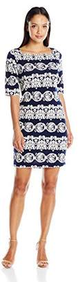 Tiana B Women's Petite 3/4 Sleeve Printed Dress with Exposed Back Zipper