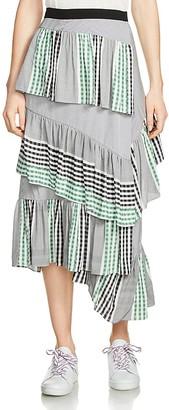 Maje Jomo Asymmetric Tiered Skirt $480 thestylecure.com