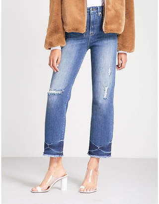 Good American Good Straight Fray straight high-rise jeans