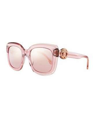 Roberto Cavalli Square Transparent Acetate Sunglasses