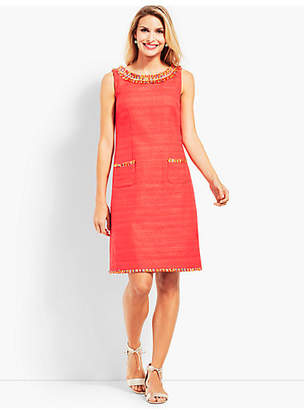 Talbots Textured Fringe-Neck Shift Dress