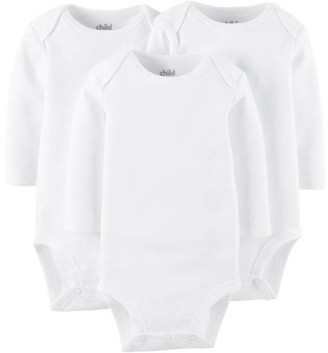 Carter's Child Of Mine By Long Sleeve White Bodysuits, 3-pack (Baby Boys or Baby Girls, Unisex)
