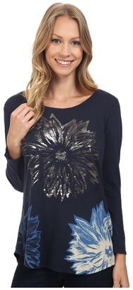 Lucky Brand Halftone Flower Metallic Top $39.50 thestylecure.com