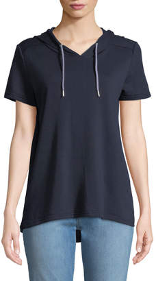 Neiman Marcus Short-Sleeve High-Low Hoodie Tee