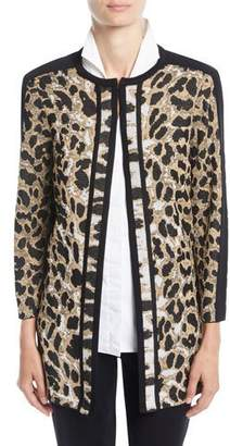 Misook Plus Size Animal-Print Long Jacket