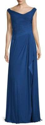 Ruched Off-The-Shoulder Gown
