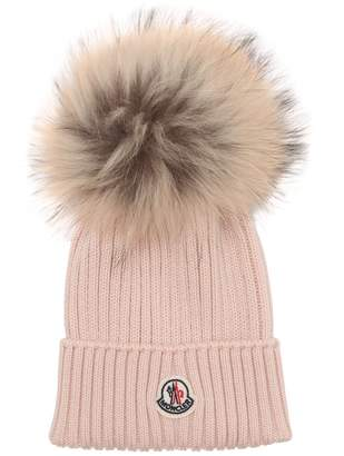 Moncler Wool Knit Hat W/Fur Pompom