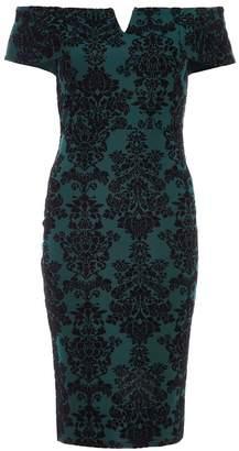 Quiz Bottle Green Flock Bardot Midi Dress