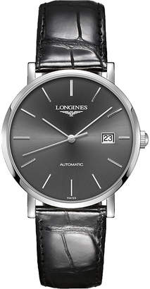 Longines l4.910.4.72.2 elegant stainless steel and alligator-leather watch