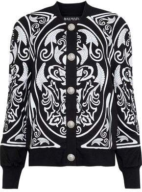 Balmain Appliquéd Embroidered Cotton-Jersey Jacket