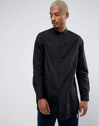 Asos Regular Fit Super Longline Shirt With Grandad Collar In Black