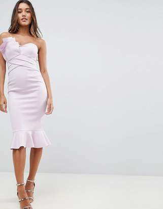 Asos DESIGN Fan Front Scuba Midi Bodycon Pephem Dress