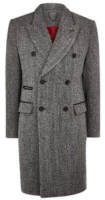 Topman Mens Mid Grey Grey Wool Blend Herringbone Double Breasted Overcoat