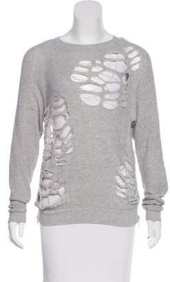 R 13 Zip-Accented Distressed Sweatshirt