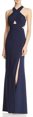 BCBGMAXAZRIA Crossover Cutout Gown - 100% Exclusive