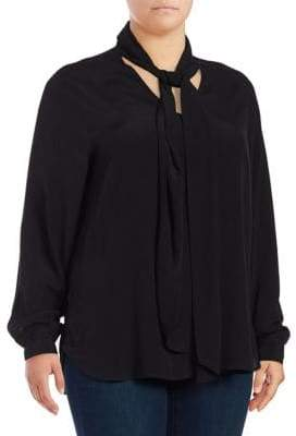 Lord & Taylor Plus Blouse With Scarf