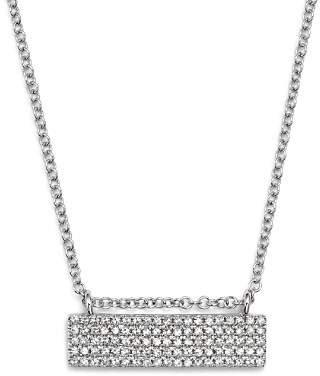 "KC Designs 14K White Gold Diamond Pavé Bar Necklace, 16"""