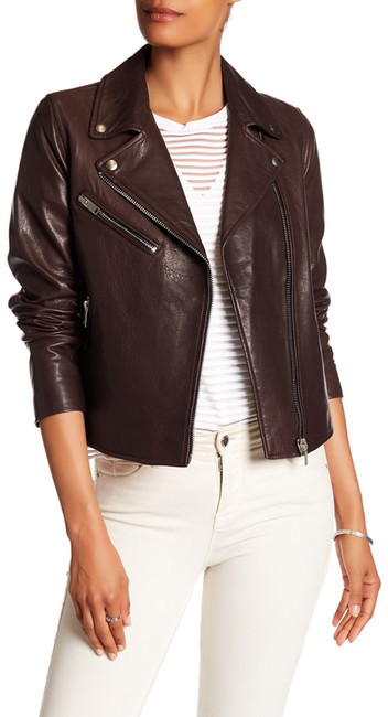 Doma Doma Smooth Textured Genuine Leather Jacket