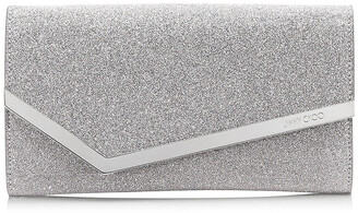 Jimmy Choo EMMIE Silver Fine Glitter Leather Clutch Bag