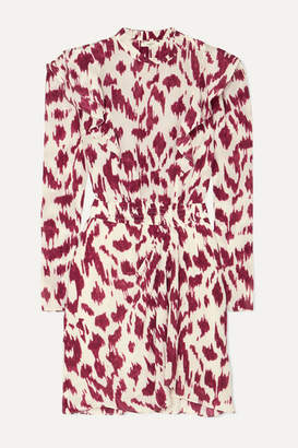 Etoile Isabel Marant Yoana Ruffled Printed Silk Crepe De Chine Mini Dress - Ecru