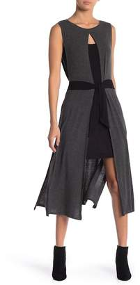 BCBGMAXAZRIA Knit Waist Tie Dress