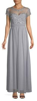 Quiz Embellished Cap-Sleeve Chiffon Maxi Dress