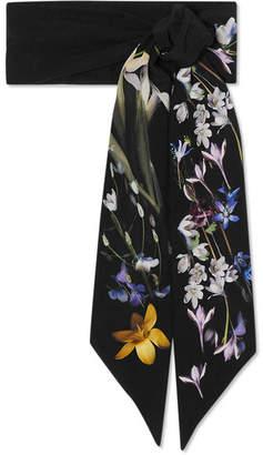 Alexander McQueen Ophelia Floral-print Silk Crepe De Chine Scarf - Black