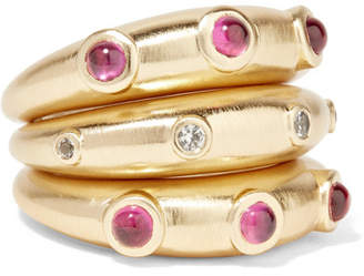 Elizabeth and James Phoenix Set Of Three Gold-plated, Ruby And Topaz Rings