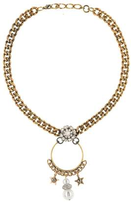 Halo & Co Antique Distressed Gold Chain Necklace With Pearl And Star Drops