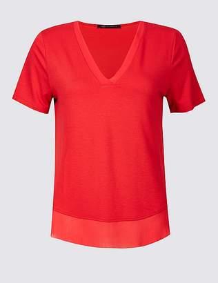Marks and Spencer Crepe V-Neck Short Sleeve T-Shirt