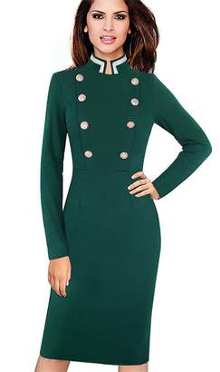 Vins Retro Long Sleeve Solid Color Collar Double Breasted Buttons Vestidos Business Dress M