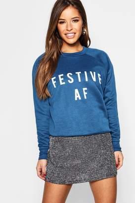 boohoo Petite 'Festive AF' Slogan Sweat Top
