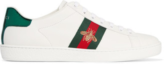 Gucci - Watersnake-trimmed Leather Sneakers - White $595 thestylecure.com