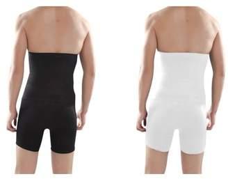 LACASA Compression Workout pants/Mens Long Insta Trim Waist Compression Undershorts/ High Waisted Compression Shorts 2 pack Black/White