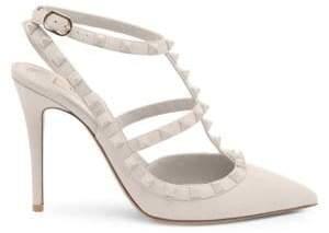 Valentino Rockstud Tonal Leather Slingback Sandals