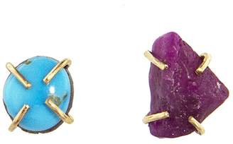 Melissa Joy Manning Turqouise & Ruby Mismatched Stud Earrings